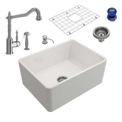 Classico All-in-One Farmhouse Fireclay 24 in. Single Bowl Kitchen Sink with Lesina Polished Chrome Faucet