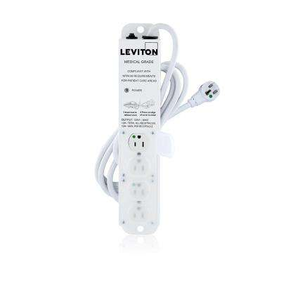 15 Amp Medical Grade 4-Outlet Power Strip with Locking Covers and 7 Foot Cord with Right Angle, White