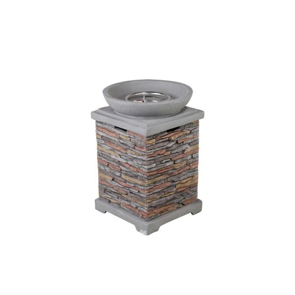20.08 in. W x 29.33 in. H Square Stone Propane Brown Gas Fire Pit Kit