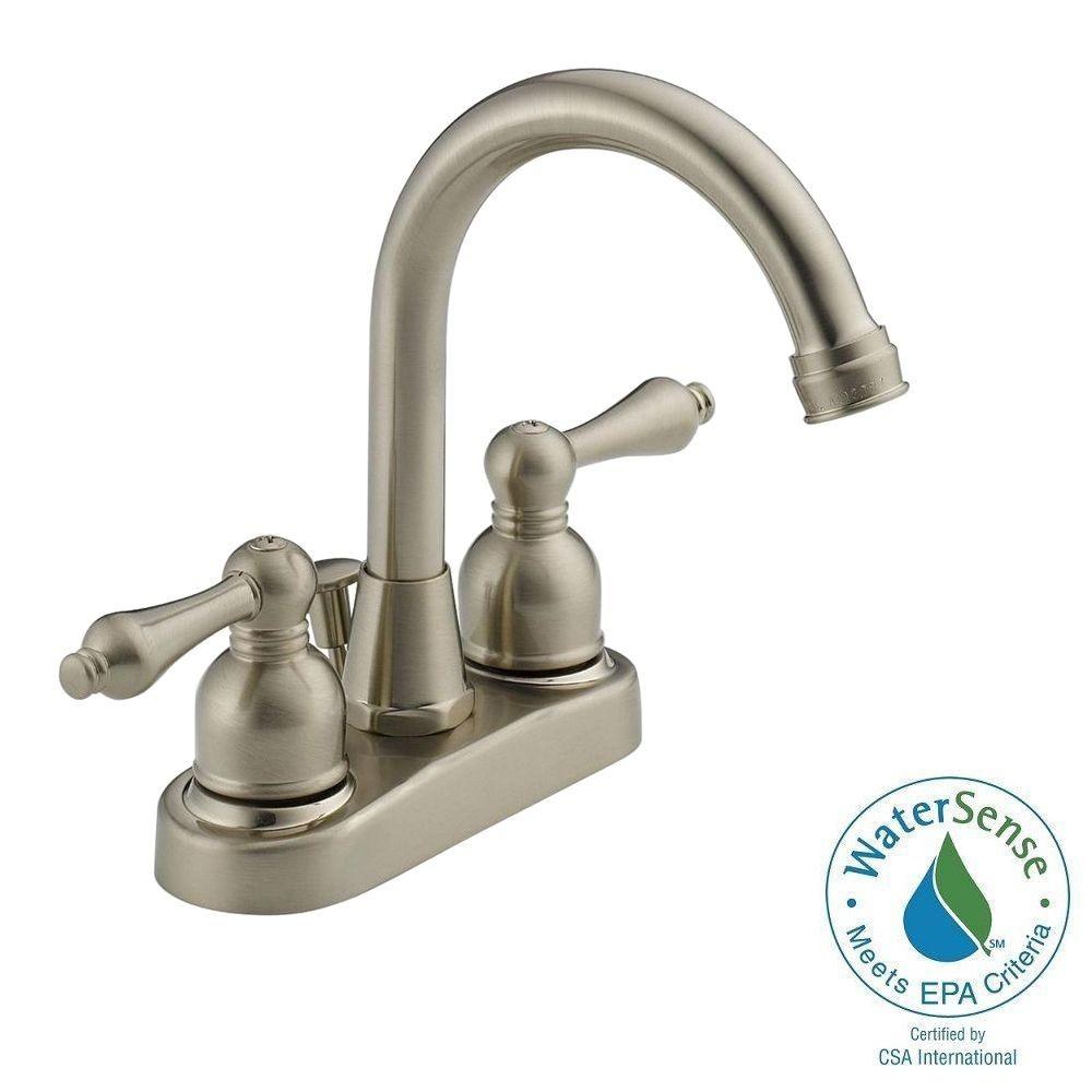 Westbrass 4 In Centerset 2 Handle High Arc Bathroom Faucet In Satin Nickel With Drain Was00x 07