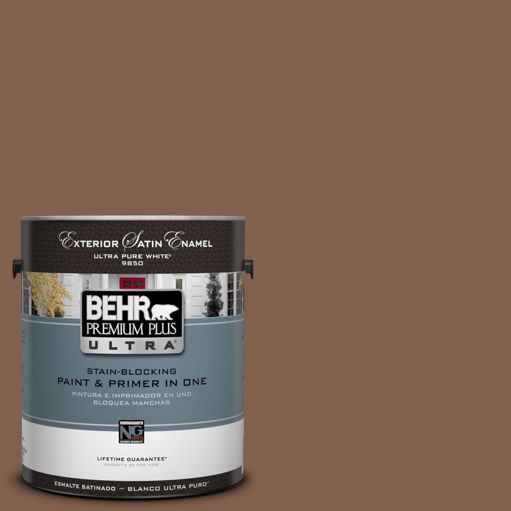 BEHR Premium Plus Ultra 1-Gal. #UL130-3 Burnt Terra Satin Enamel Exterior Paint