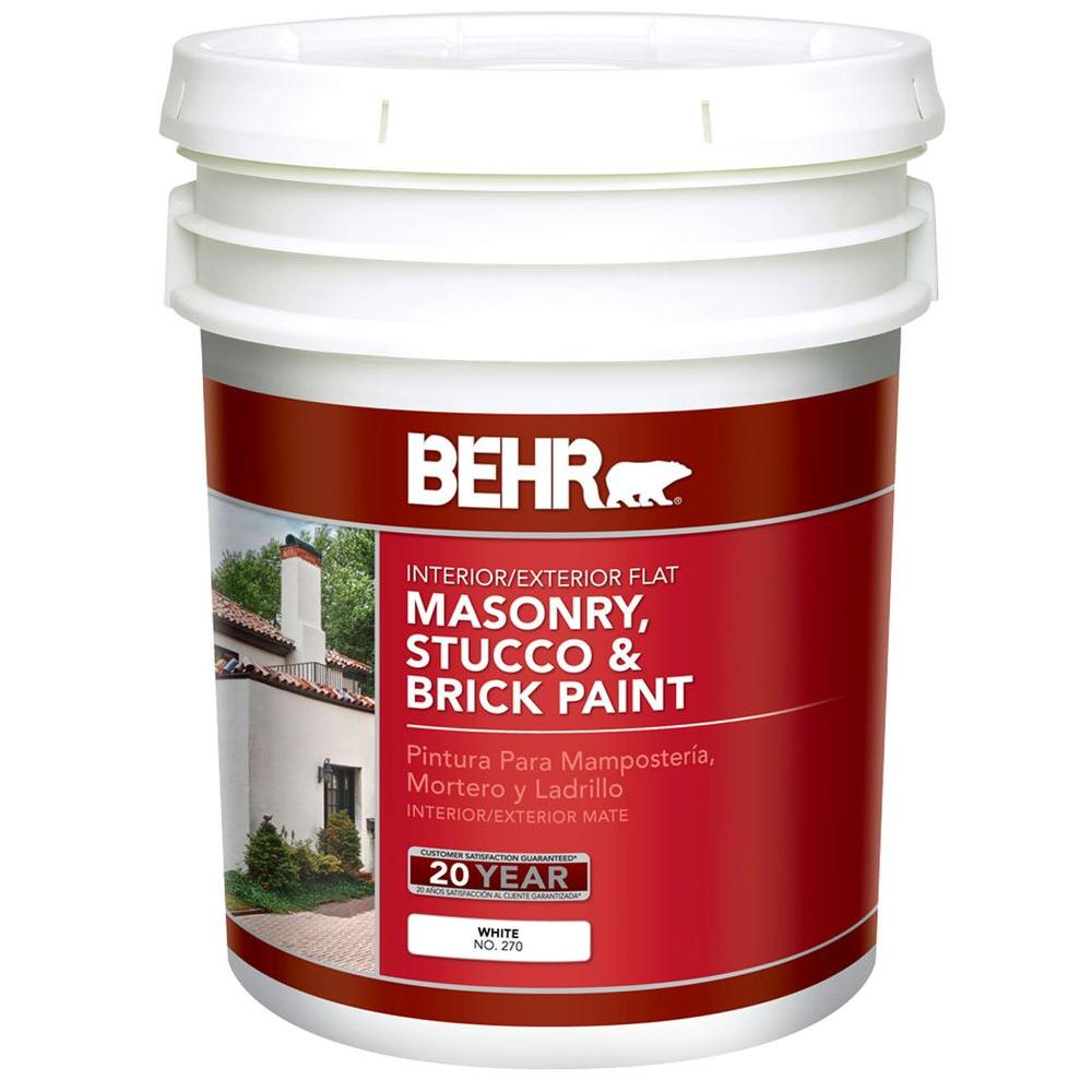 Exterior Paint Coverage Per Gallon: BEHR 5 Gal. White Flat Latex Masonry, Stucco And Brick