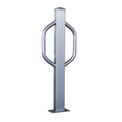 36 in. x 4 in. Silver Powder Coated Steel Modern Bike Safety Bollard