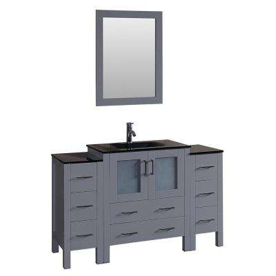 54 in. W Single Bath Vanity with Tempered Glass Vanity Top in Black with Black Basin and Mirror