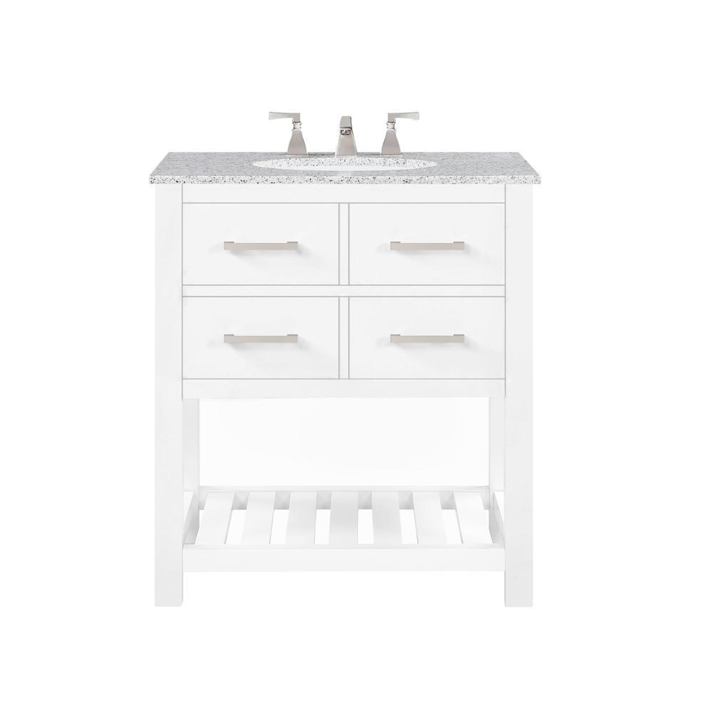 Fraser 31 in. W Bath Vanity in White with Granite Vanity Top in White with White Basin
