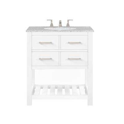 Fraser 31 in. W Bath Vanity in White with Granite Vanity Top in White with White Basin