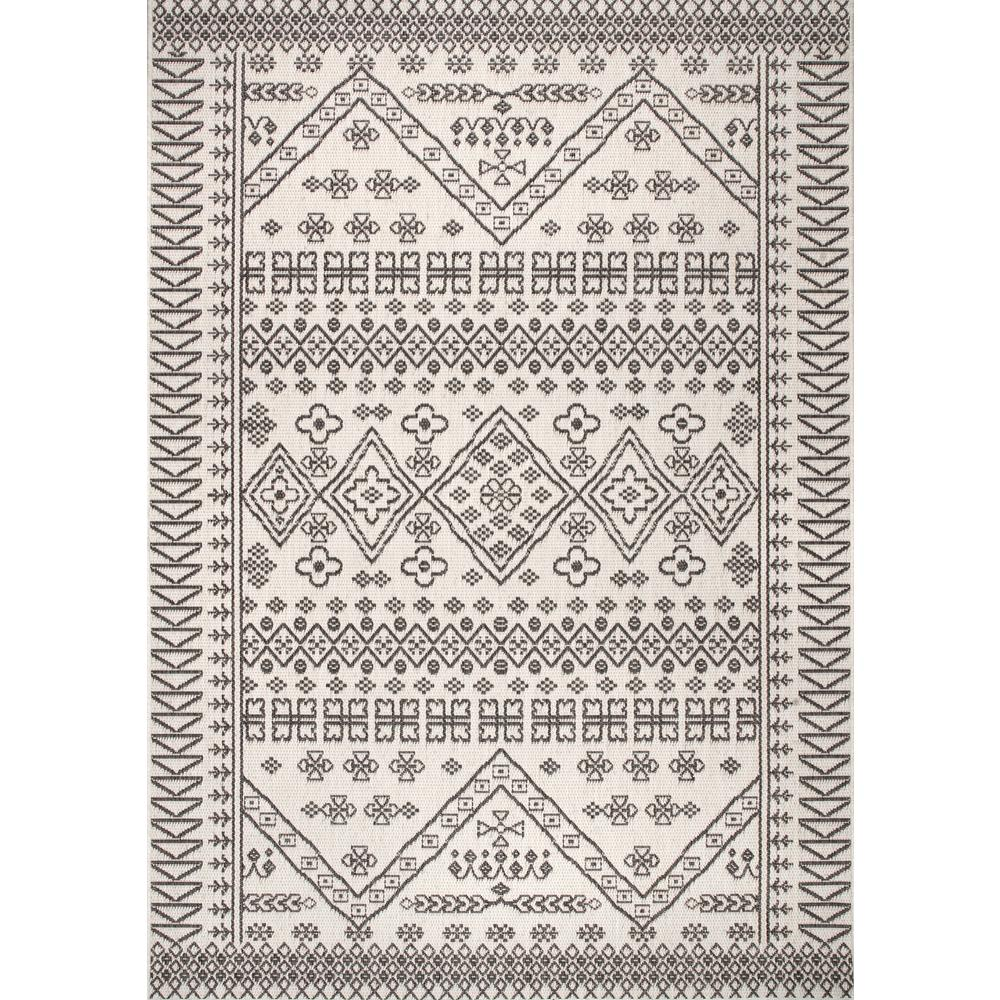 nuLOOM Kandace Tribal Ivory 9 ft. x 13 ft. Indoor/Outdoor Area Rug
