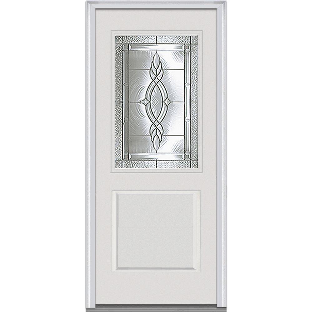 MMI Door 32 in. x 80 in. Brentwood Left-Hand 1/2 Lite 1-Panel Classic Primed Fiberglass Smooth Prehung Front Door