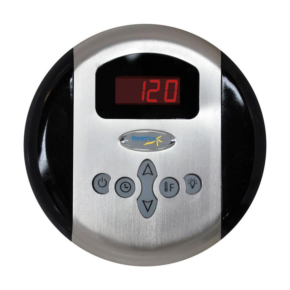 SteamSpa Programmable Steam Bath Generator Control Panel with Presets in Chrome