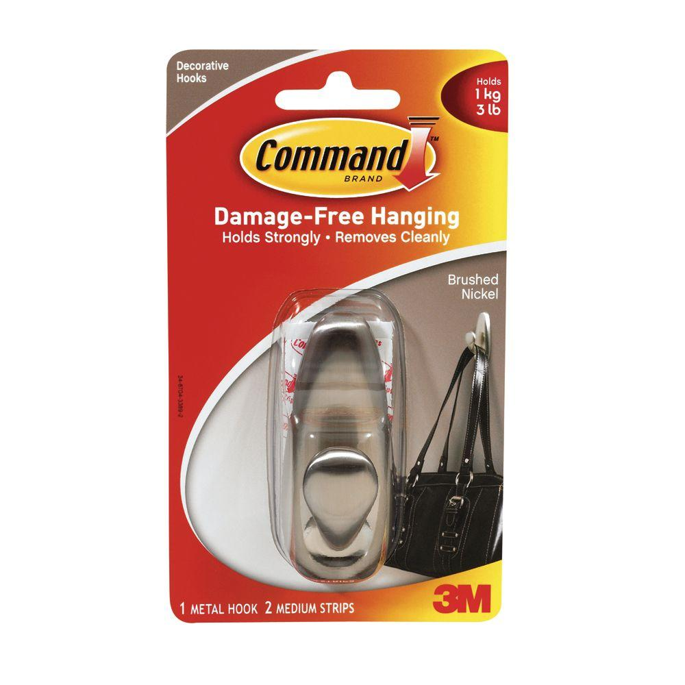 Command 3 lb. Brushed Nickel Medium Metal Hook