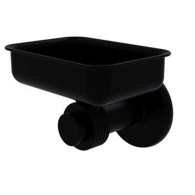 Mercury Collection Wall Mounted Soap Dish with Groovy Accents in Matte Black
