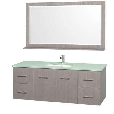 Centra 60 in. Vanity in Grey Oak with Glass Vanity Top in Aqua and Square Porcelain Under-Mounted Sink