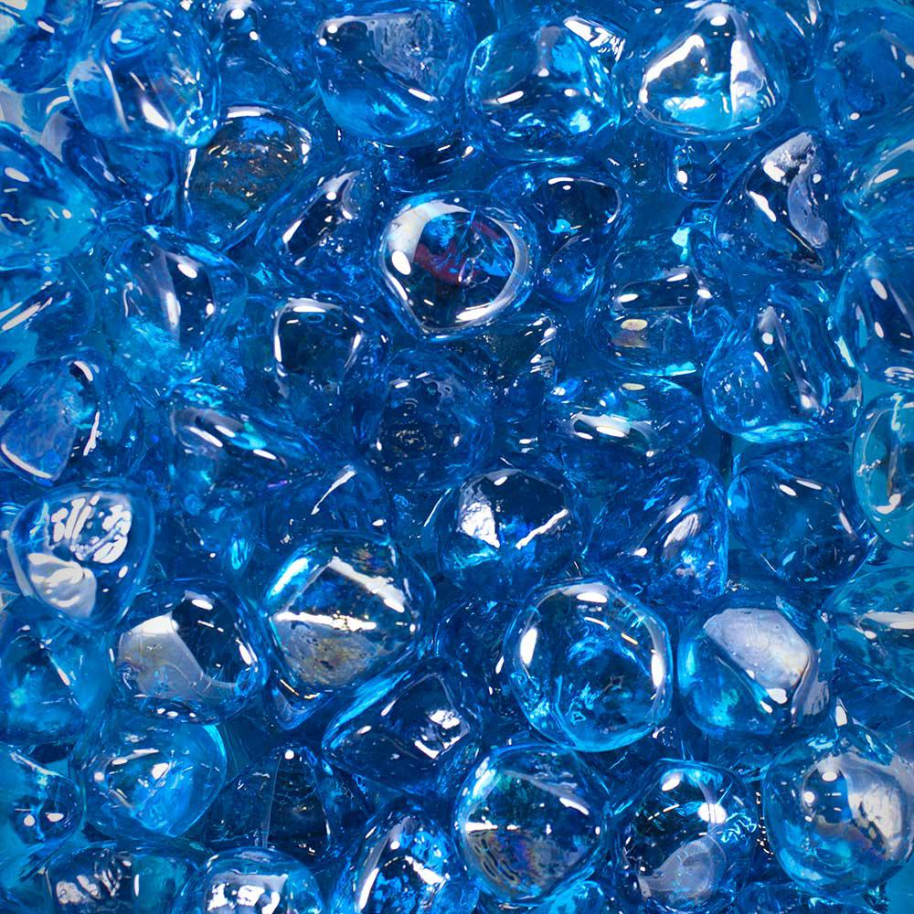 10 lbs. Tropical Blue Luster Fire Glass Diamonds in Jar