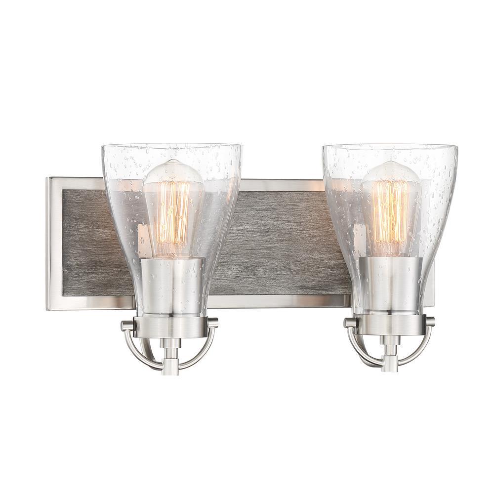 Garrison 2-Light Brushed Nickel with Shale Wood Vanity Light