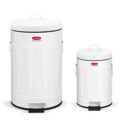 3 2 Gal 12 Liter And 0 8 Gal 3 Liter Old Time New York Style Round Shape White Color Metal Trash Can Set