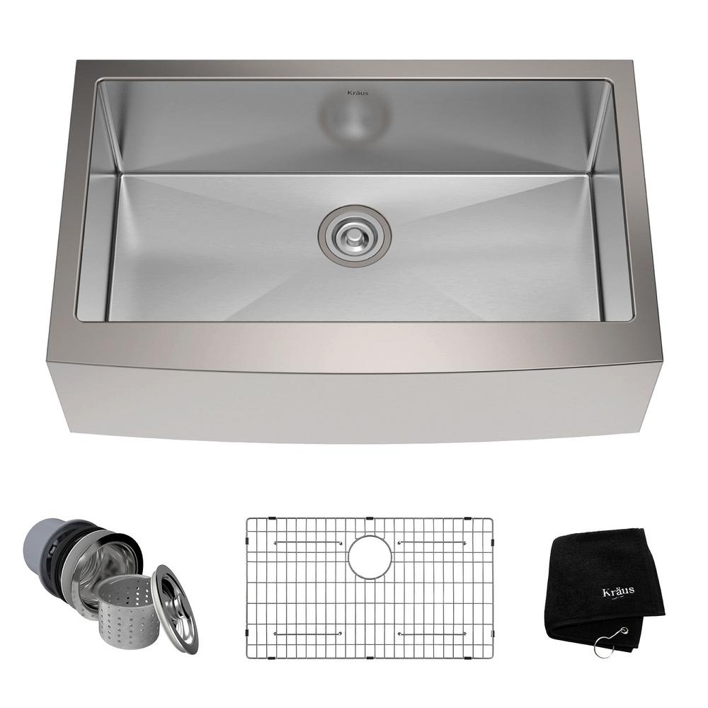 Single Kitchen Sinks Single kitchen sinks kitchen the home depot farmhouse apron front stainless steel 33 in single bowl kitchen sink kit workwithnaturefo