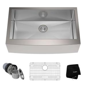 Kraus Farmhouse Apron Front Stainless Steel 33 inch Single Bowl Kitchen Sink Kit by KRAUS