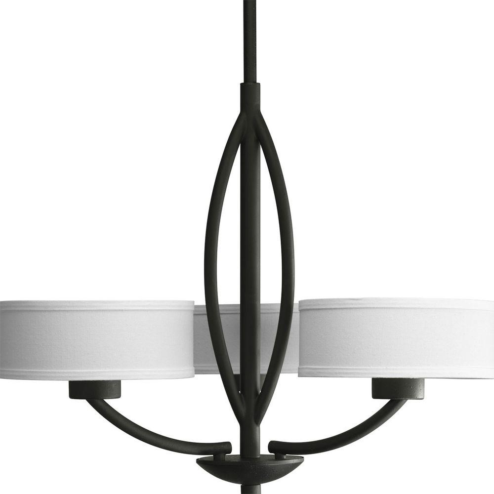 Calven Collection 3-Light Forged Black Chandelier with White Linen Shade