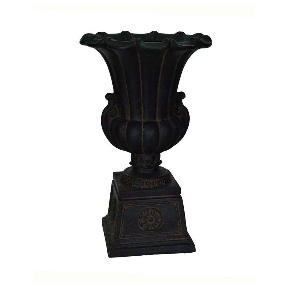 MPG 16-1/4 in. x 26-1/2 in. Cast Stone Urn on Pedestal in Aged Charcoal