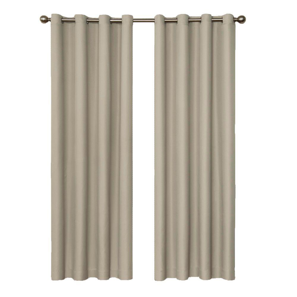 Dane Blackout String Beige Curtain Panel, 63 in. Length