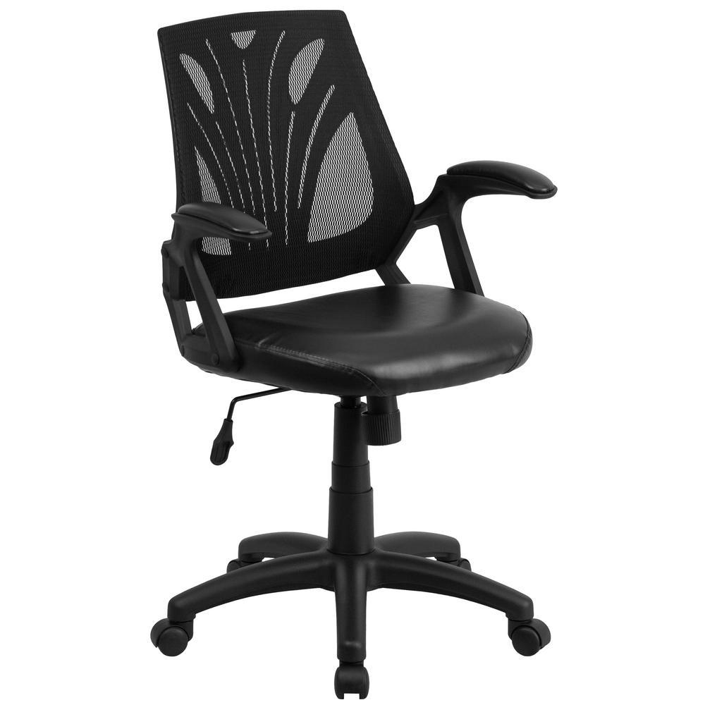 Flash Furniture Black Leather/Mesh Office/Desk Chair GOWY82LEA