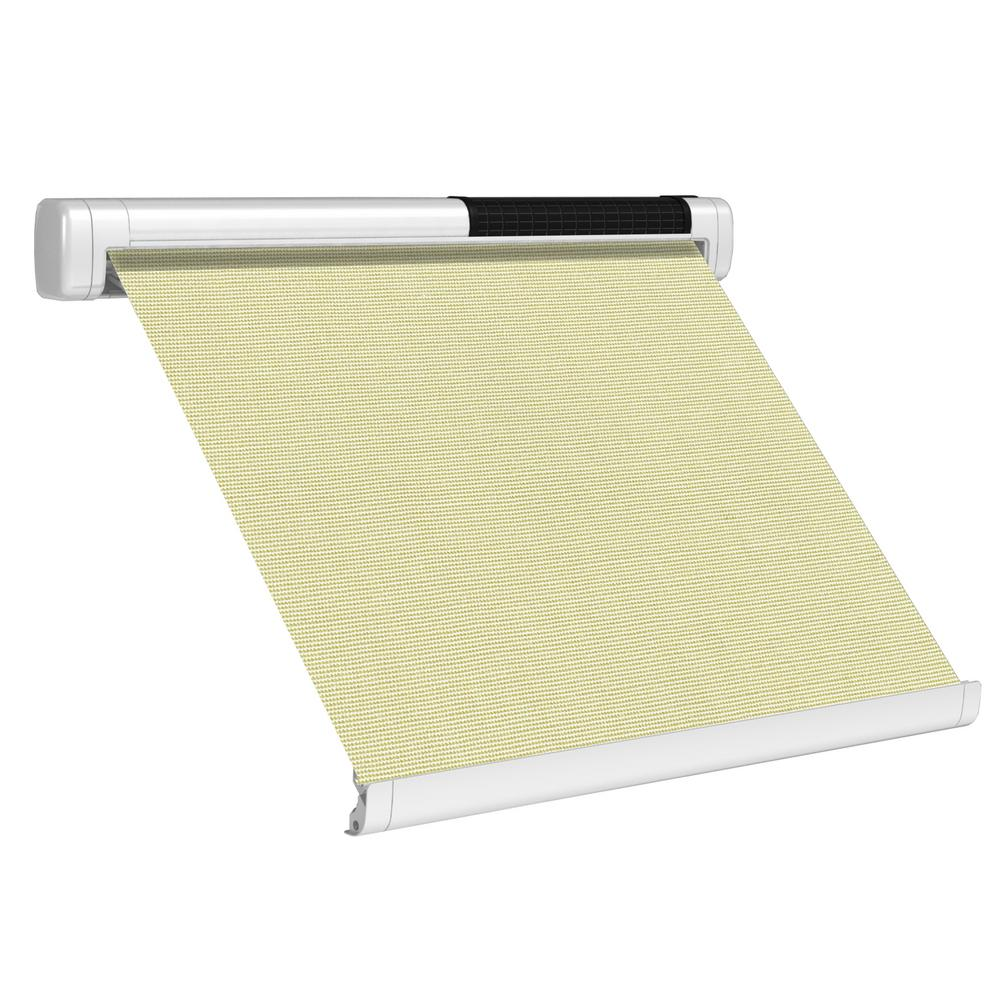 Sol Lux 8 Ft Solar Powered Home Window Retractable Smart Awning Signal White Case Cream Fabric Sd096001 The Home Depot