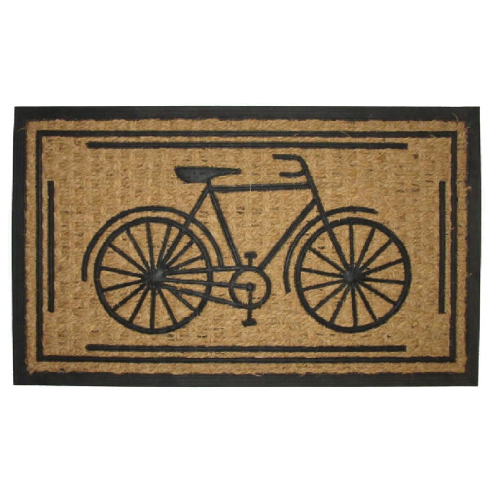 Non-Brush Rubber Back, Bike, 30 in. x 18 in. Coir Door Mat