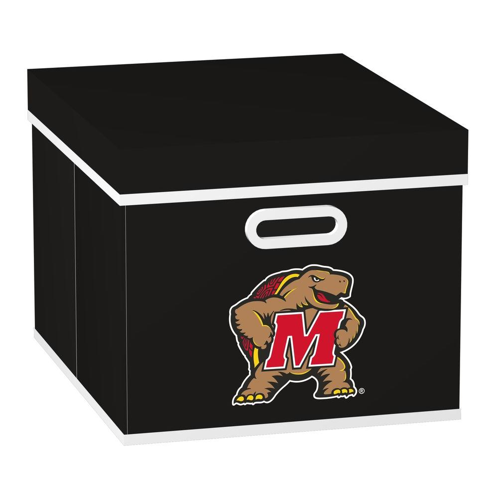 MyOwnersBox College STACKITS University of Maryland 12 in. x 10 in. x 15 in. Stackable Black Fabric Storage Cube