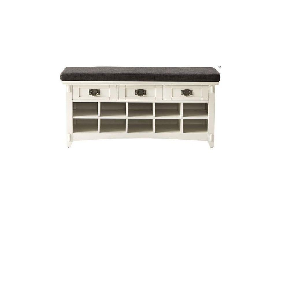 Home Decorators Collection Artisan White 3-Drawer Bench with Shoe Storage
