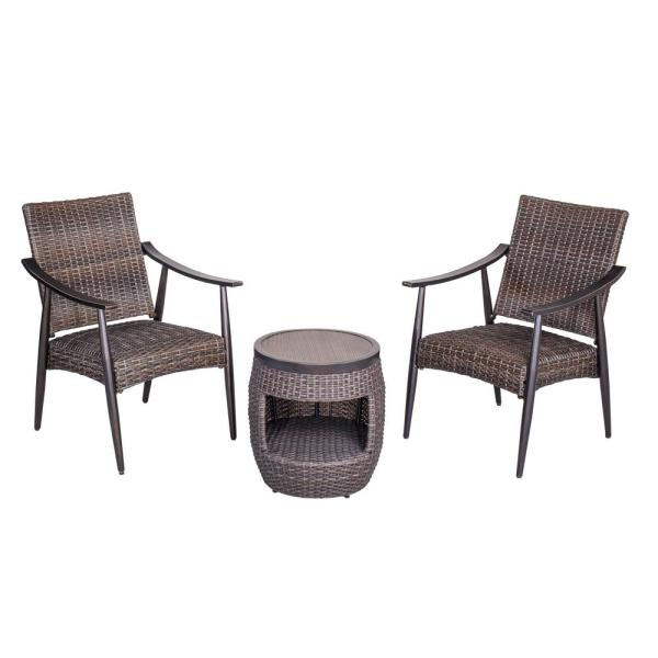 3-Piece Aluminum Outdoor Patio Bistro Set with 2 Wicker Arm Chairs and 17.3 in. Round Crafttech Top Wicker Bistro Table