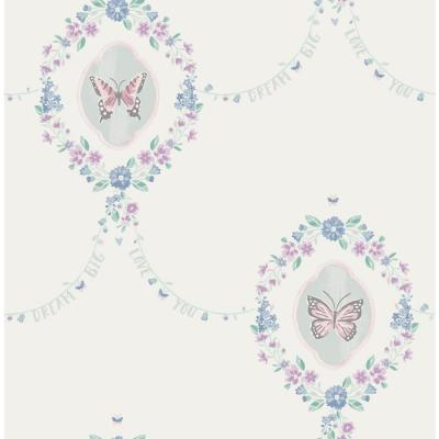 Kids Flutter Pink, Teal and Metallic Silver Butterfly Wallpaper