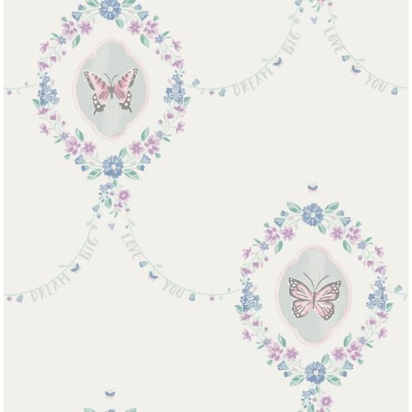 Wallquest Kids Flutter Pink, Teal and Metallic Silver Butterfly Wallpaper