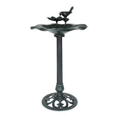 Sandberg Antique Green Aluminum and Iron Bird Bath