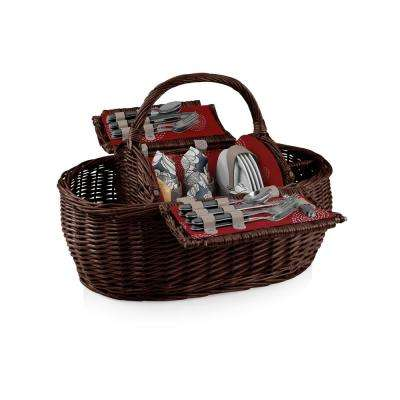 Harmony Collection Assorted Colors Gondola Willow Wood Picnic Basket