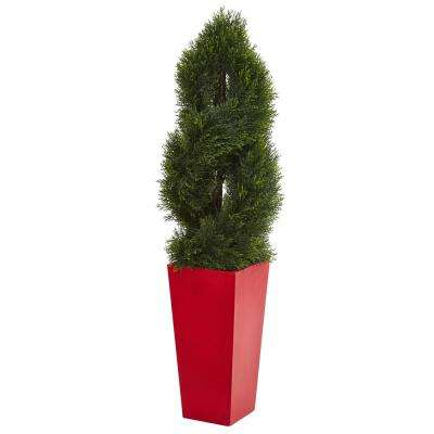 Indoor/Outdoor 4.5 ft. Double Pond Cypress Spiral Artificial Tree in Red Planter UV Resistant