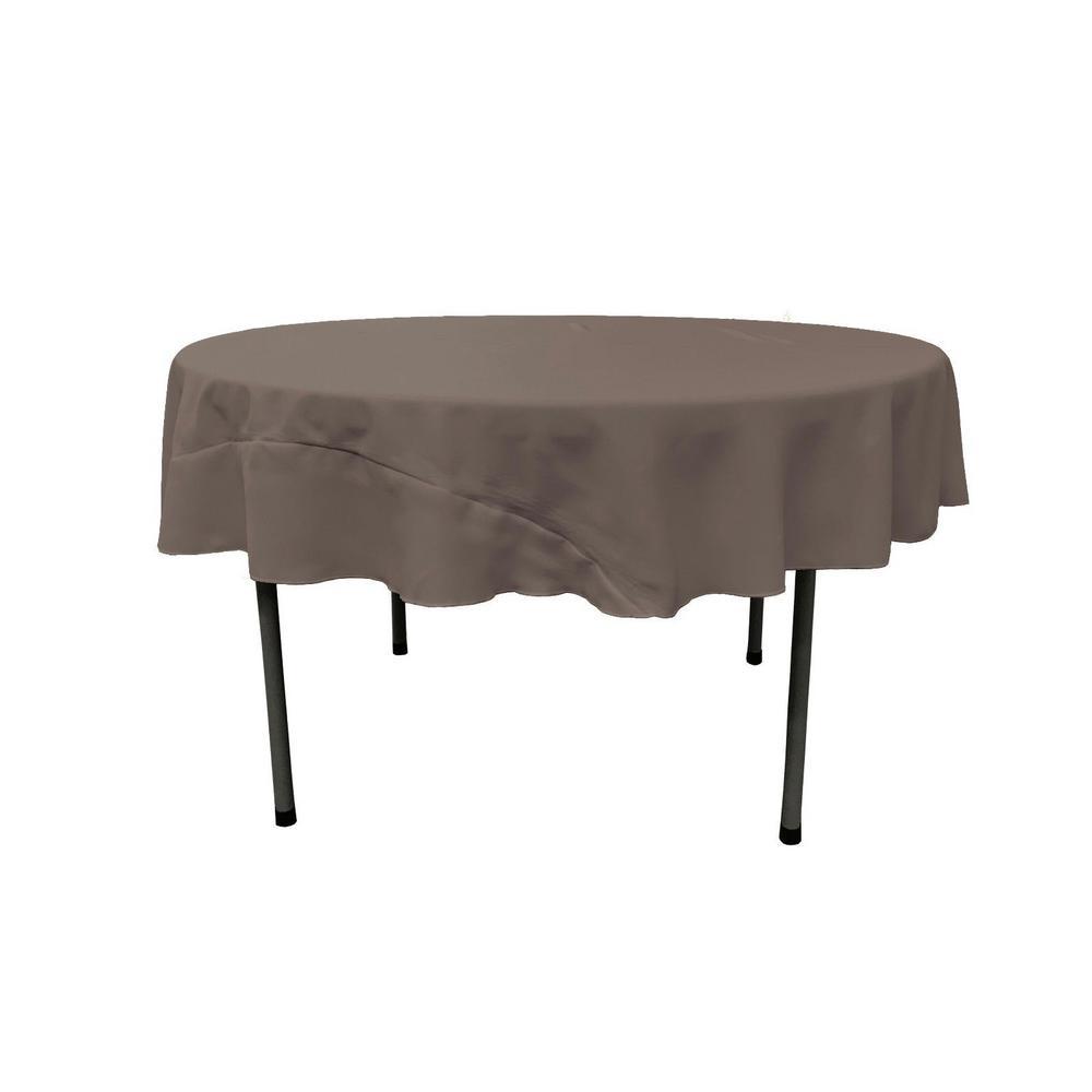 LA Linen Dark Gray 72 in. Round Polyester Poplin Tablecloth