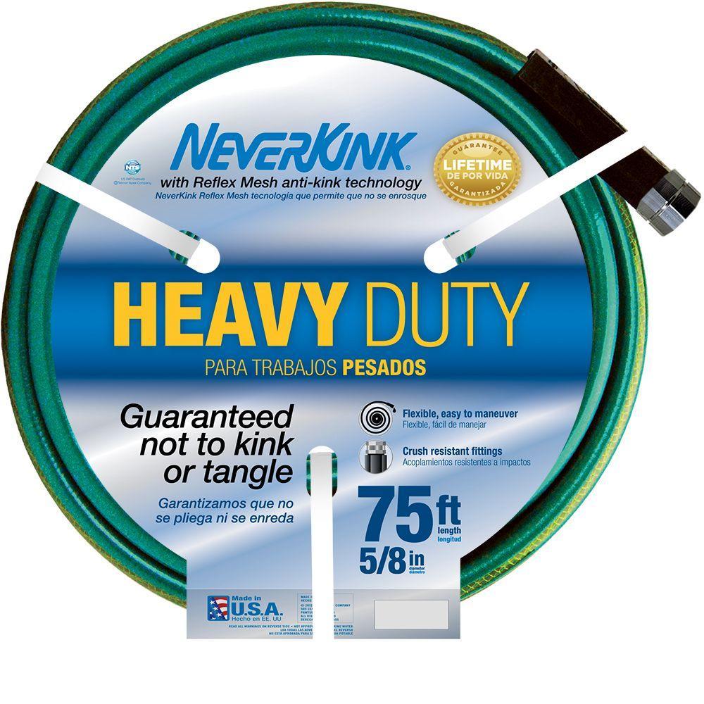 Neverkink 5/8 in. Dia x 75 ft. Heavy Duty Water Hose