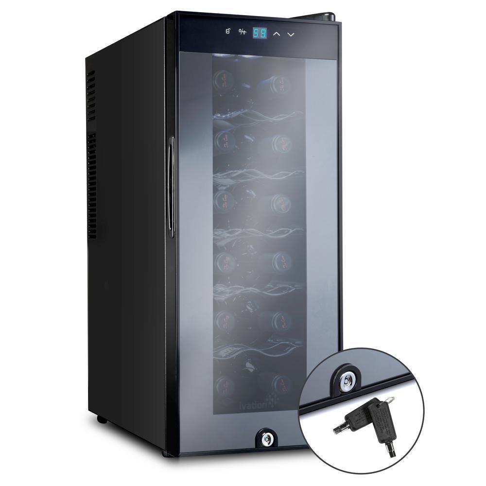 12 Bottle Thermoelectric Freestanding Wine Cooler/Fridge with Door Lock - Black