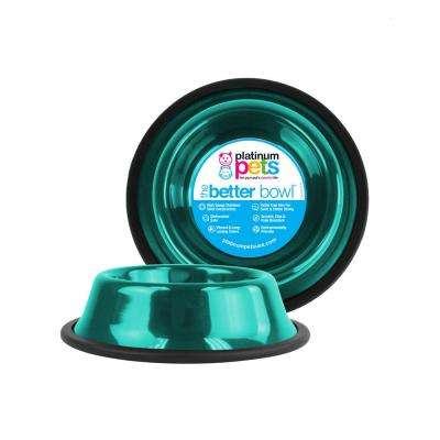 3.5 Cup Non-Tip Stainless Steel Dog Bowl, Caribbean Teal