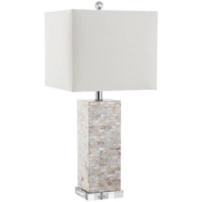 Homer 25.5 in. Cream Shell/Silver Accent Table Lamp with White Shade