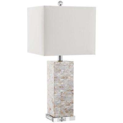 Homer 25.5 in. Shell Table Lamp with White Shade