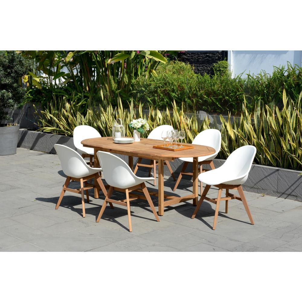 Carilo Deluxe 7-Piece Teak Oval Patio Dining Set