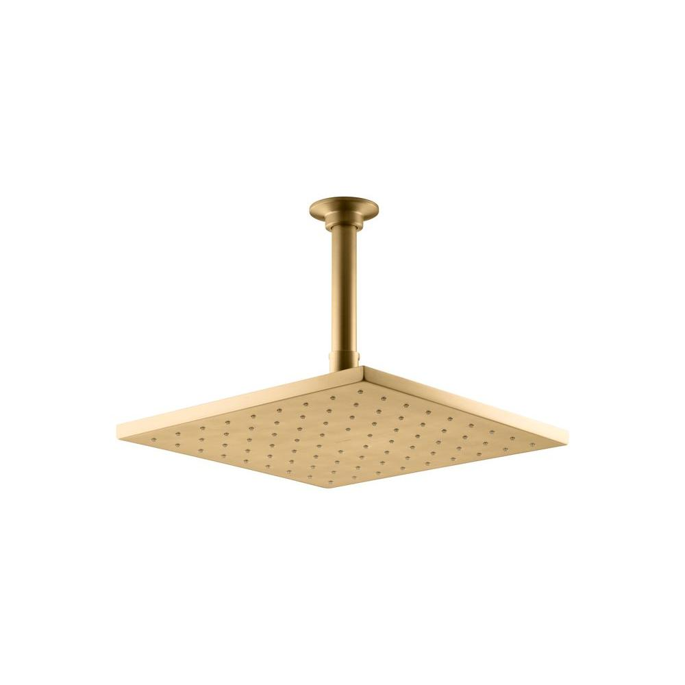 Kohler 1 spray single function 10 in contemporary square - Brushed gold bathroom faucets kohler ...