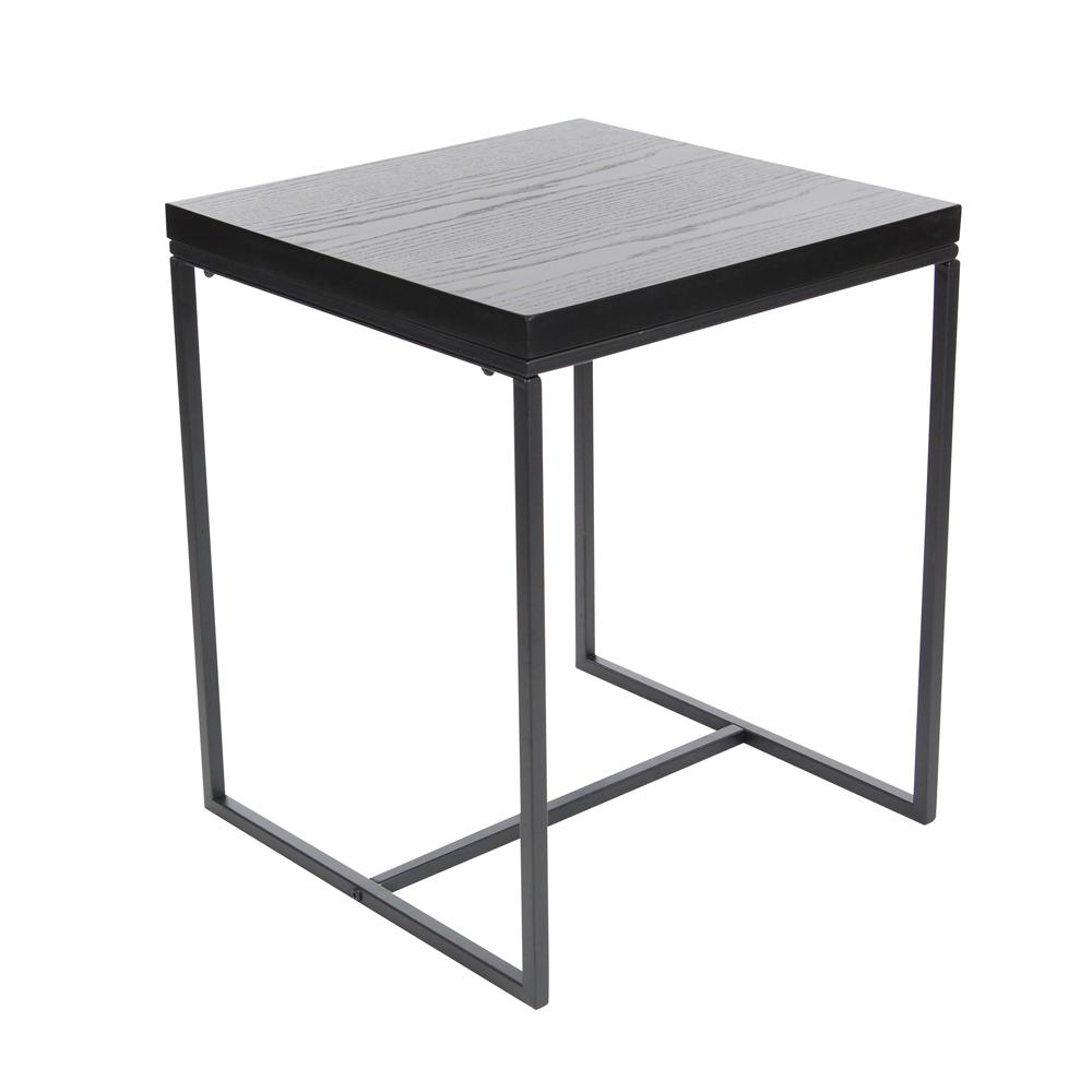 Metal and Wood Square Accent Table in Black