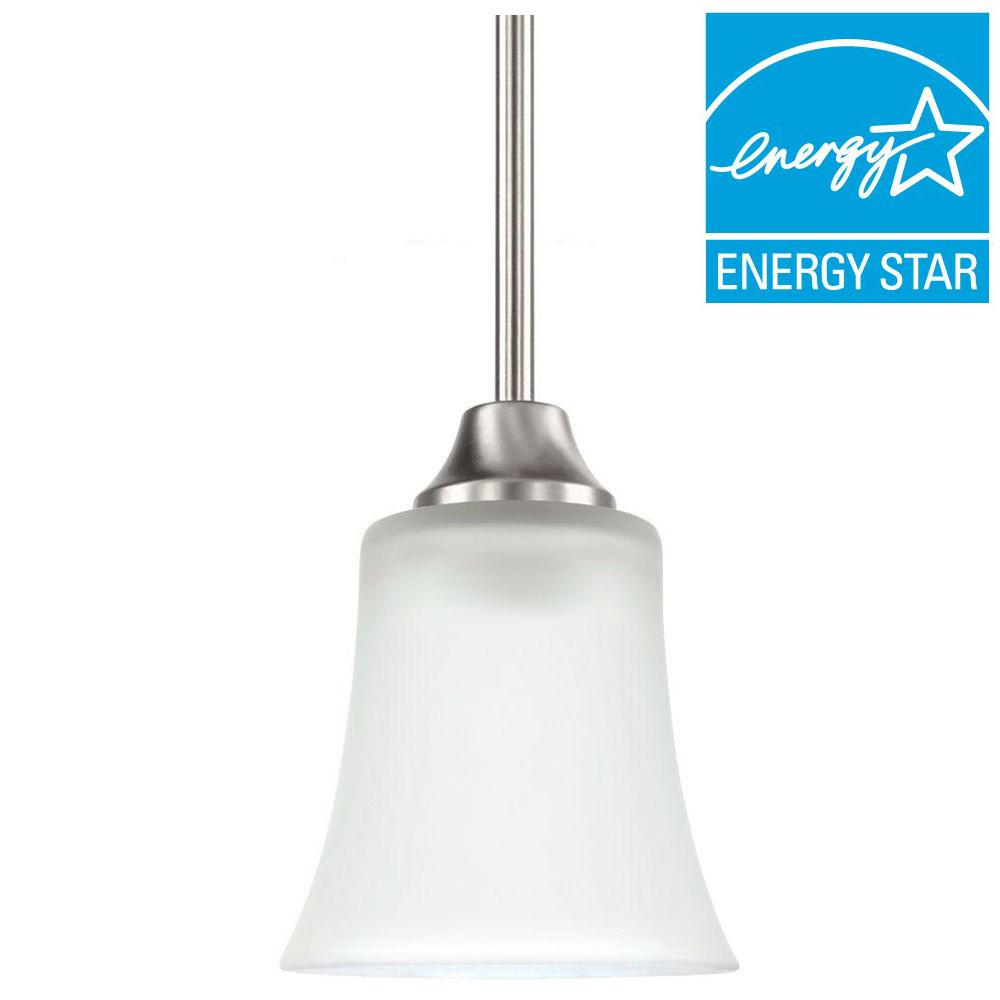 Marvelous Sea Gull Lighting Holman 1 Light Brushed Nickel Mini Pendant 69806BLE 962    The Home Depot