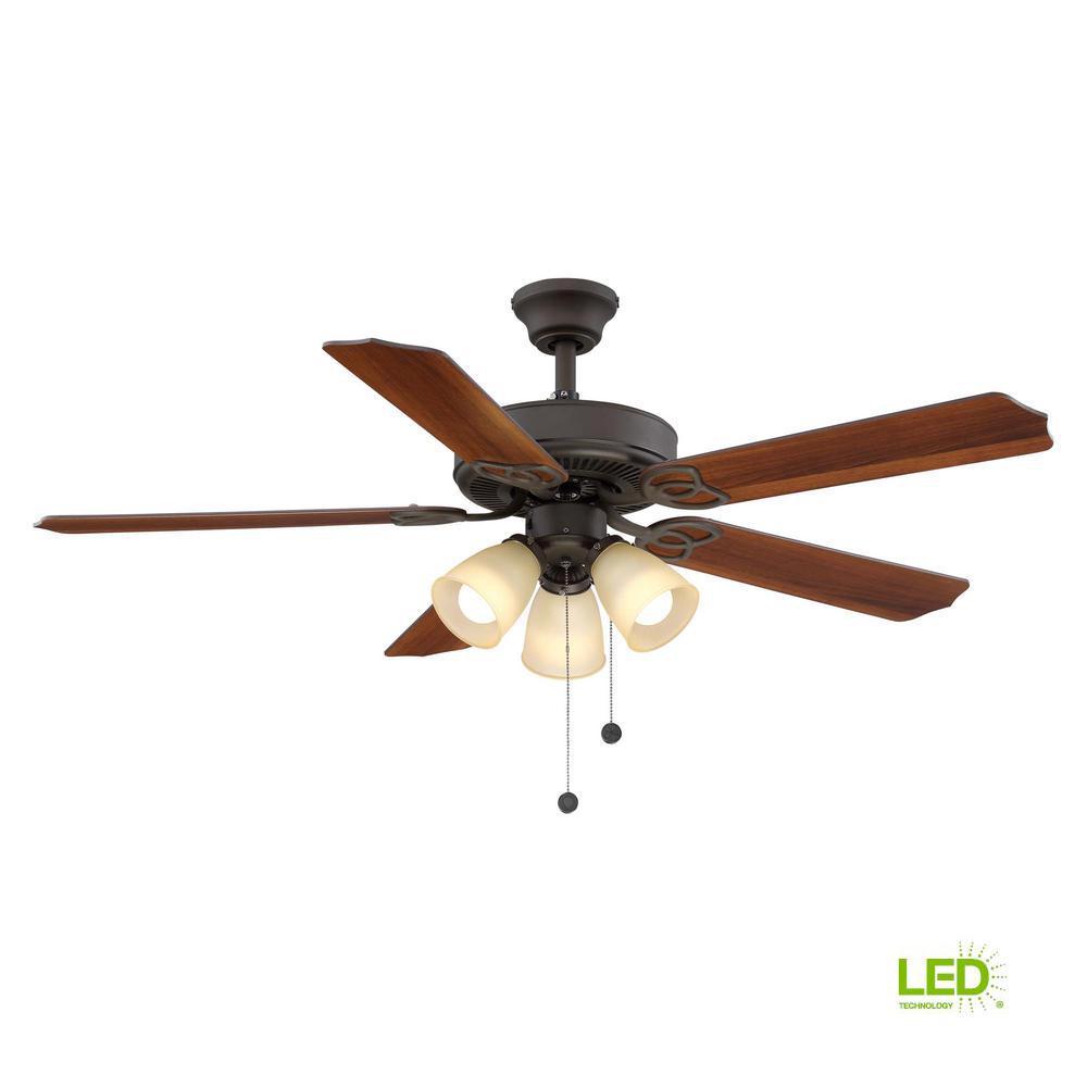 hampton bay lyndhurst 52 in led oil rubbed bronze ceiling fan withled indoor oil rubbed bronze ceiling fan with light kit