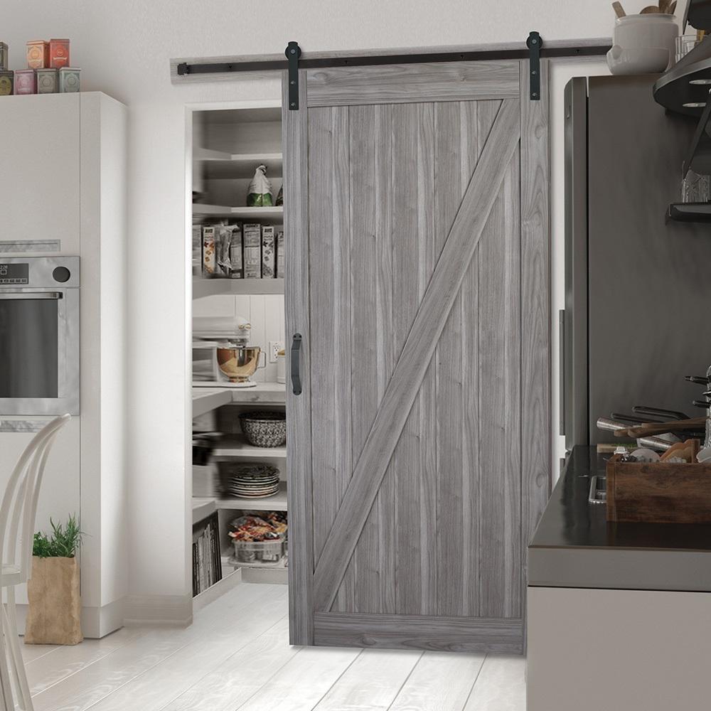 42 in. x 84 in. Z-Bar Ash Gray Interior Sliding Barn Door Slab with Hardware Kit