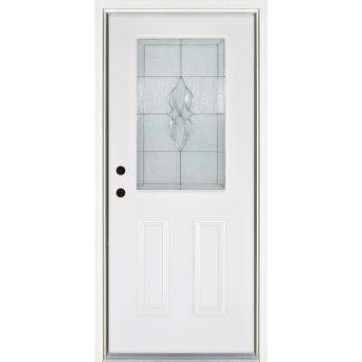 36 in. x 80 in. Scotia Smooth White Right-Hand Inswing 1/2 Lite Decorative Fiberglass Prehung Front Door