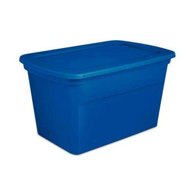 30 Gal. Plastic Stackable Storage Tote Container Box, Blue (24 Pack)