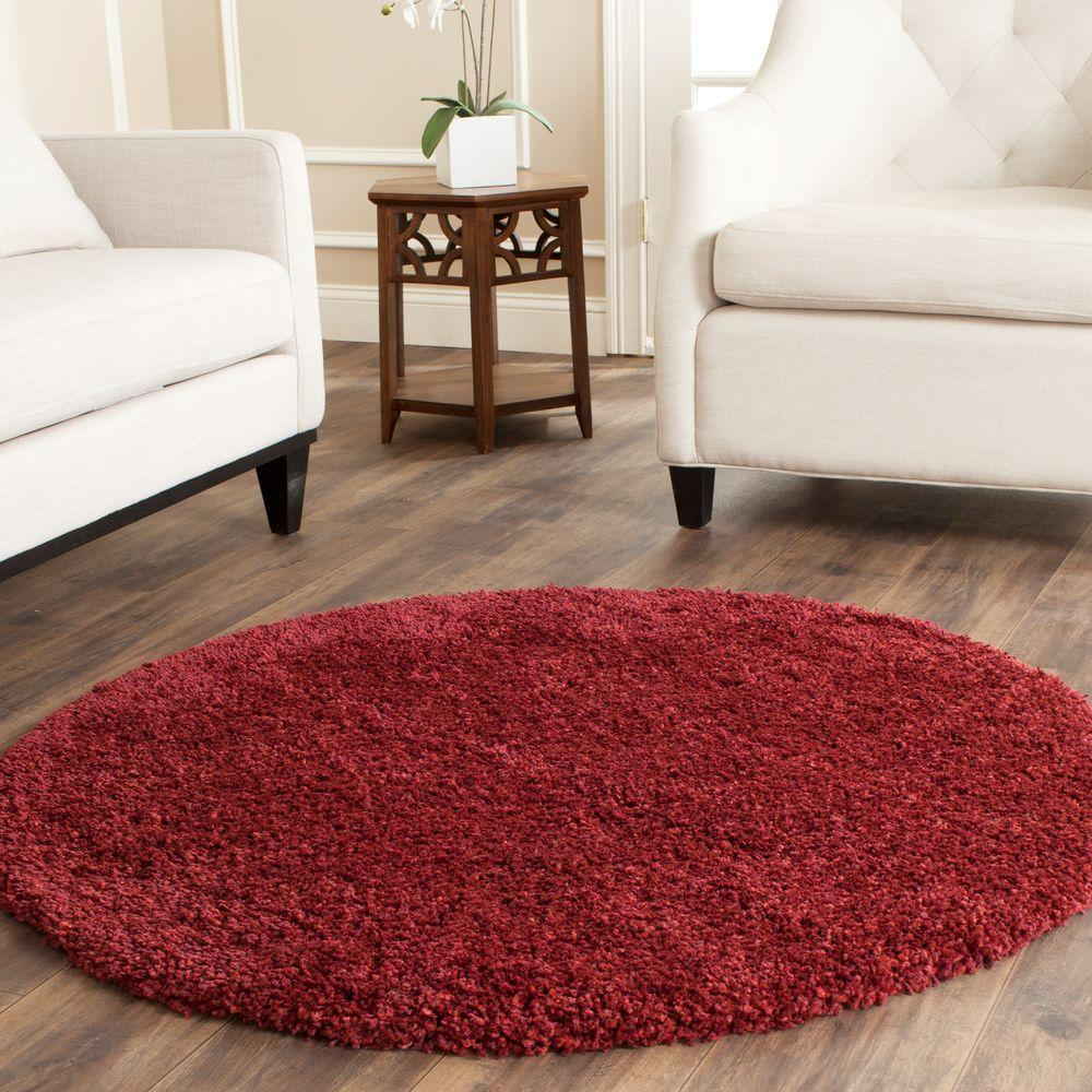 Safavieh California Shag Maroon 4 Ft X 4 Ft Round Area